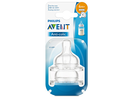 Philips Avent Natural Teat Fast Flow 6m+ 2pk