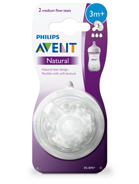 Philips Avent Natural Teat Medium Flow 3m+ 2pk