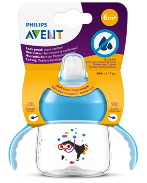 Philips Avent Sip, no Drip Cup 200ml 6m+ (Blue)