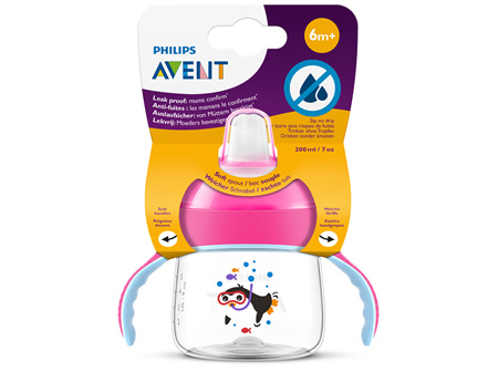 Philips Avent Sip, no Drip Cup 200ml 6m+ (Pink)
