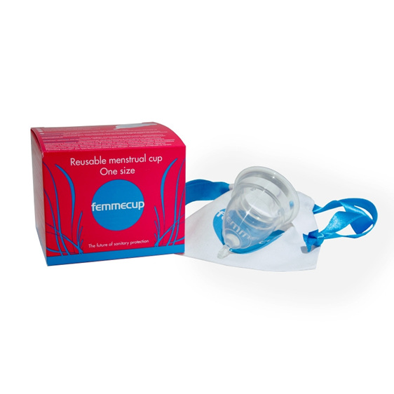 Photo of femmecup with box and storage bag