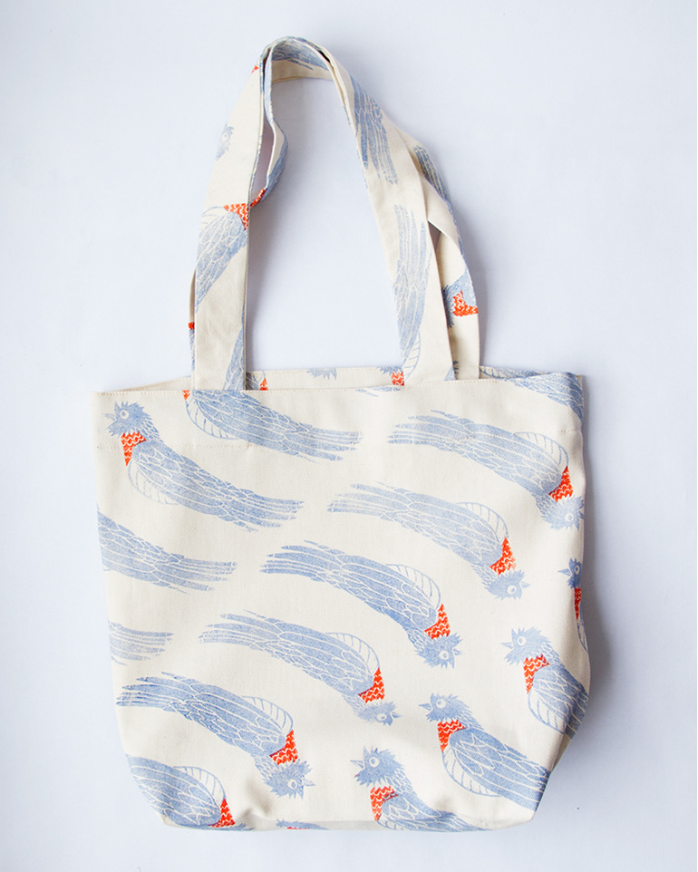 Piet My Vrou. Red Chested Cuckoo. Bird. Block Print. Blue and Red. Tote Bag.