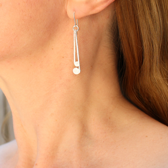 pikopiko ferns koru sterling silver earrings dangle long worn
