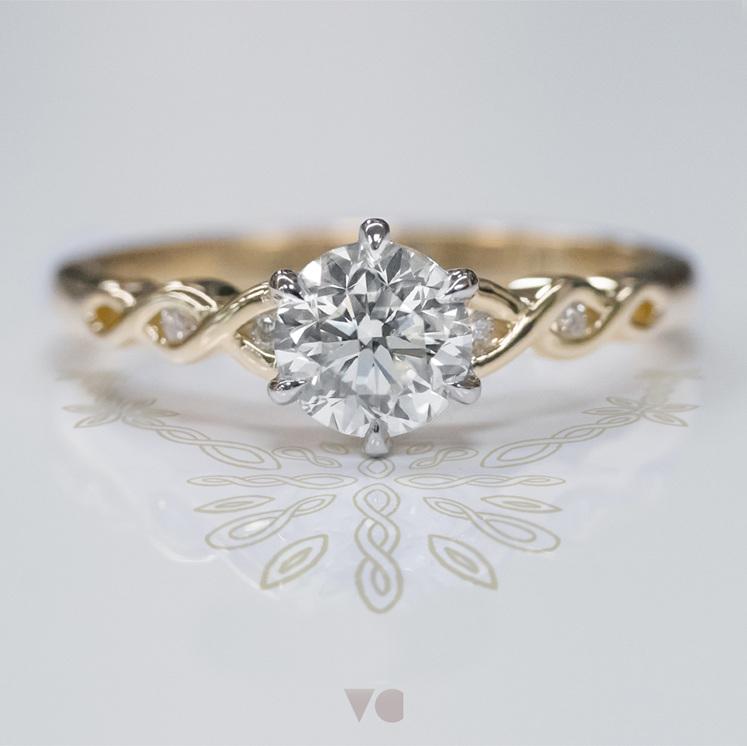 pikorua twist 18ct yellow gold diamond solitaire engagement ring design