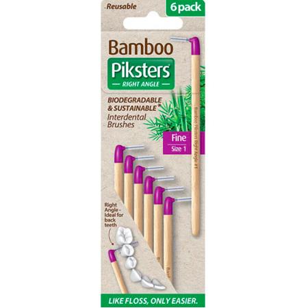 PIKSTERS BAMBOO I/DENTAL BRUSH 1 6PK