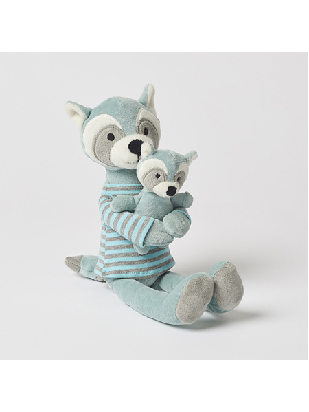 Pilbeam Jiggle & Giggle Aqua Plush Racoon with Baby