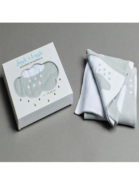 Pilbeam Jiggle & Giggle Boxed Baby Blanket Grey Cloud