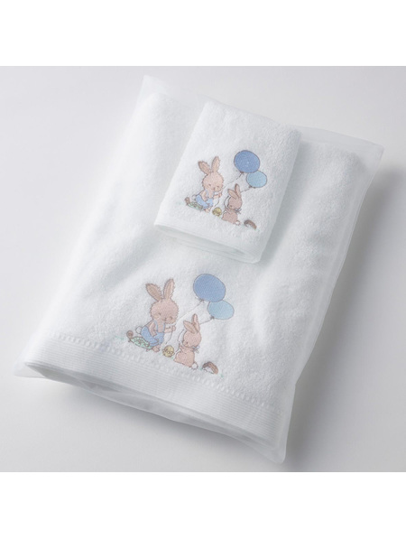 Pilbeam Jiggle & Giggle  Embroidered Boy Bunny Towel & Face Washer Set in Organza Bag