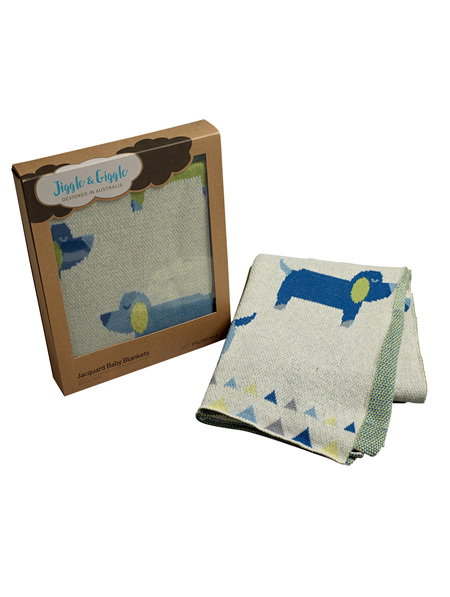 Pilbeam Jiggle & Giggle Jacquard Dog Baby Blanket - Boxed