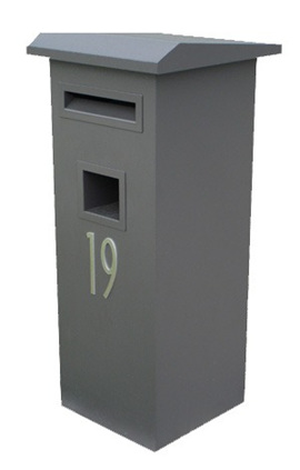 Pillar Letterbox with Flat Sloping Roof