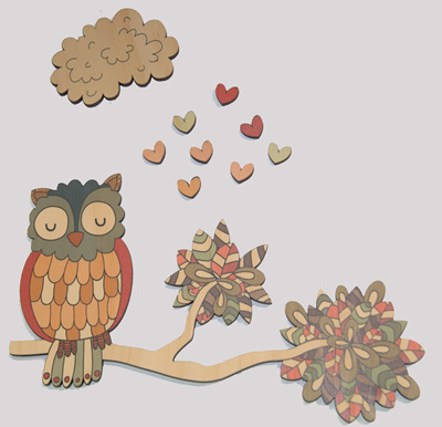 PINE WALL ART OWL