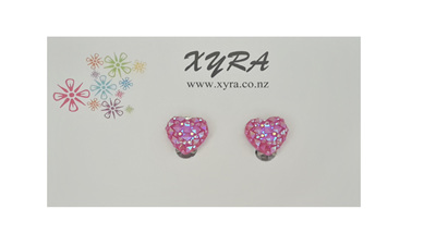 Pink Adorable Heart Clip-On Earrings