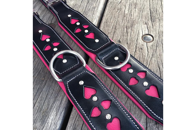 Pink and Black Leather Collar with Crystals and Heart Cut Outs by Rogue Royalty