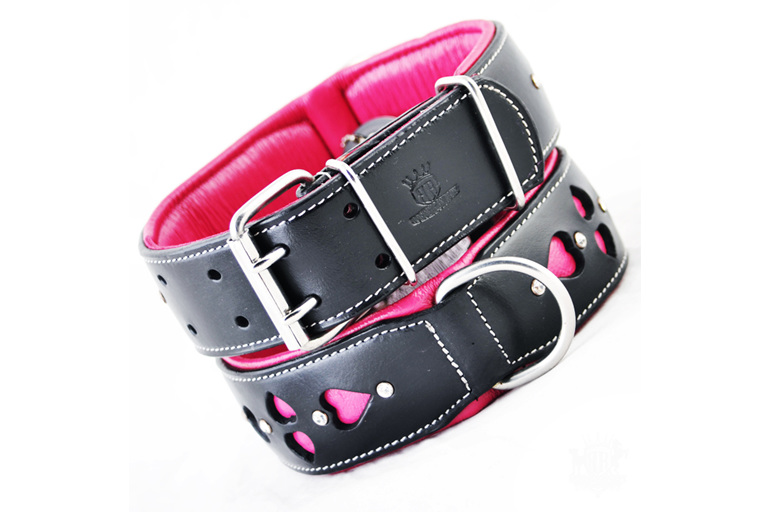 Pink and Black Leather Collar with Heart Cut Outs and Crystals for Large Dogs