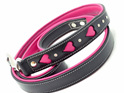 Pink and Black leather leash with heart cut outs and Swarovski stones