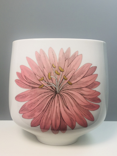 Pink and Blue Flower Porcelain Vase by Hutschenreuther