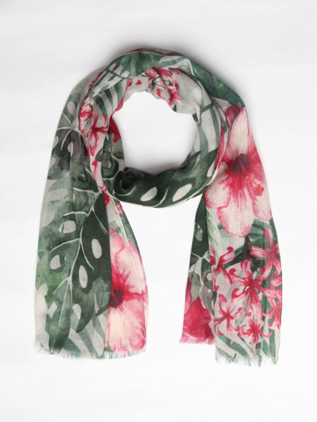 Pink and Green Floral Scarf