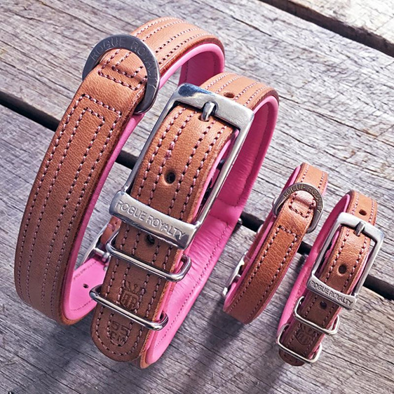 Pink and Tan Leather Dog Collar by Rogue Royalty