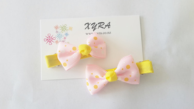 Pink and Yellow Fabric Bow Hair Clips