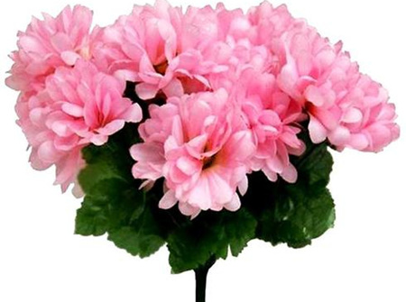 Pink artificial silk chrysanthemum flowers