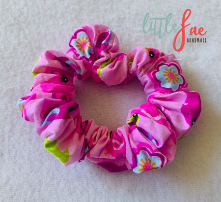 Pink Birds Scrunchie