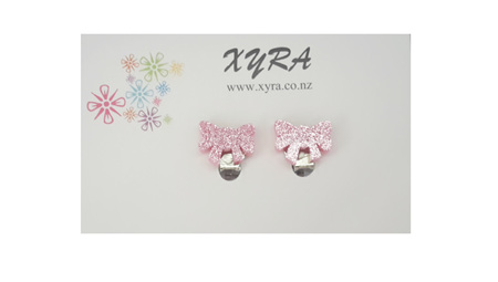 Pink Bow Clip-on Earrings