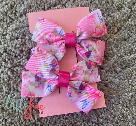 Pink Butterfly Hair Bows