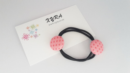 Pink Button Hair Ties