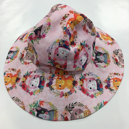 Pink Cats Sombrero Hat - Adult size large