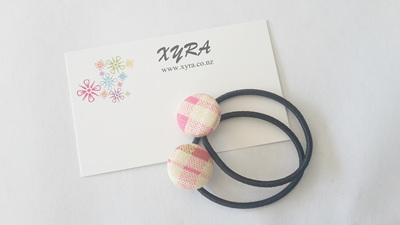 Pink Checkered Button Hair Ties
