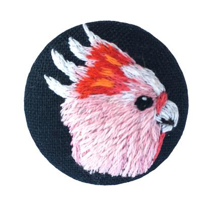 Pink Cockatoo Brooch round