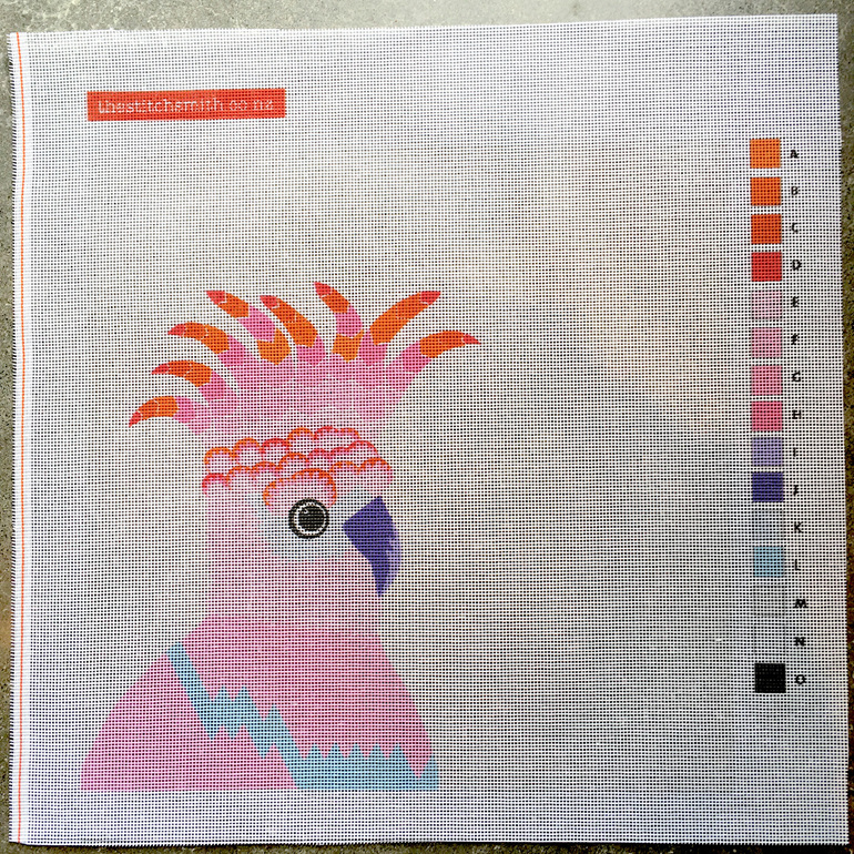 pink cockatoo needlepoint canvas