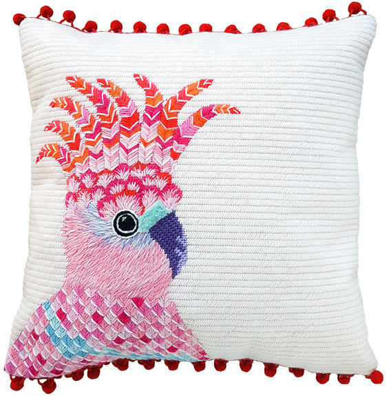 pink cockatoo needlepoint kit