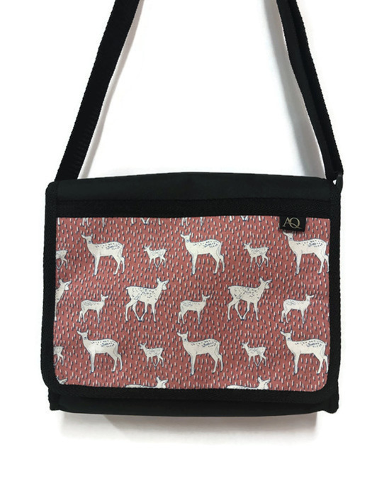 Pink deer fabric satchel with pockets. NZ made and so durable