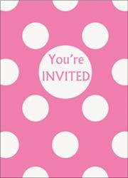 Pink Dots Birthday Invites x 8
