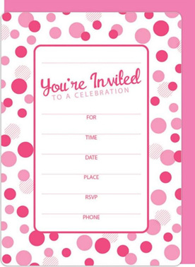 Pink Dots Party Invites x 8