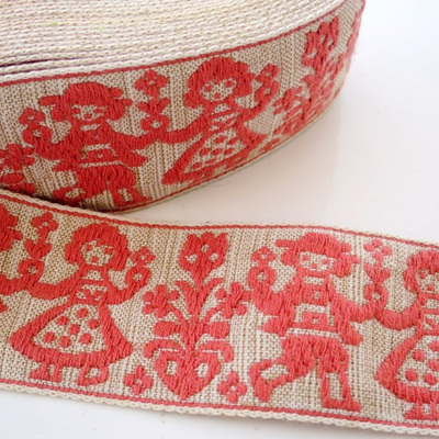 Pink embroidered ribbon