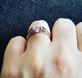 Pink emerald cut sapphire engagement ring Gatsby The Inspired Collection