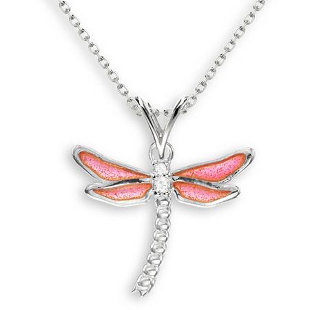 Pink Enamel Dragonfly Necklace
