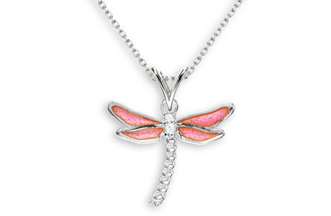 Pink Enamel Dragonfly Necklace