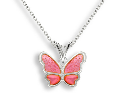 Pink Enamel Butterfly Necklace