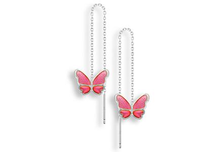 Pink Enamel Butterfly Threader Earrings