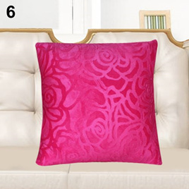 PINK FLORAL EMBOSSED CUSHION COVER