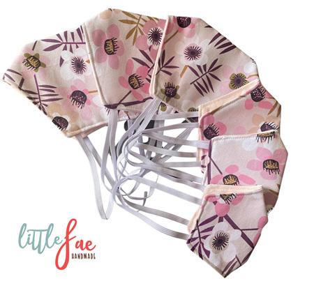 Pink flower face masks