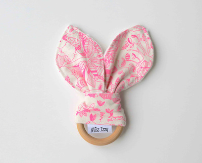 Pink Forest Cream Bunny Teether