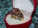 Pink Gemstone With Gold Band Ring - US7