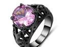 Pink Gemstone With Gunmetal Band Ring - US7