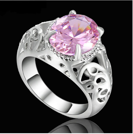 Pink Gemstone With Silver Band Ring - US7