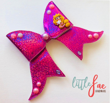 Pink Glitter Mermaid Cheer Bow Hair Clip