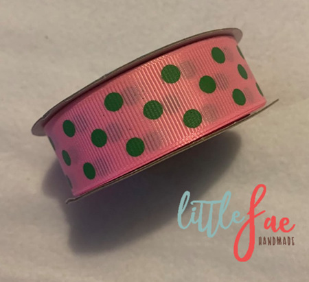 Pink & Green Polka Dot Hair Bows